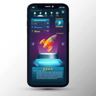 Dispositivo digital moderno smartphone con cohete de juego de diseño de concepto.