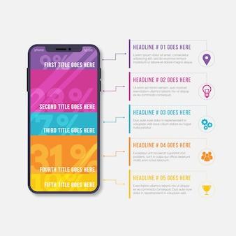 Dispositivo de diseño plano infográfico