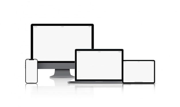 Dispositivo de dispositivo de maqueta. teléfonos inteligentes, tabletas, computadoras portátiles y monitores de computadora de color negro con pantalla en blanco aislada