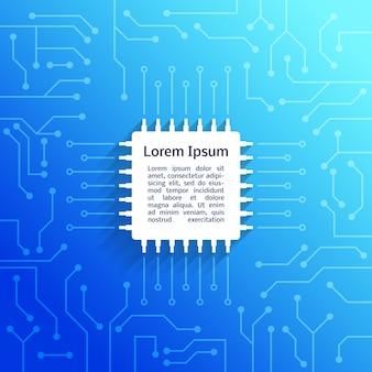 Dispositivo electrónico placa de circuito brillante fondo azul ilustración vectorial cartel