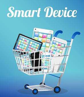 Dispositivo inteligente con teléfono inteligente y tableta en un carrito de compras