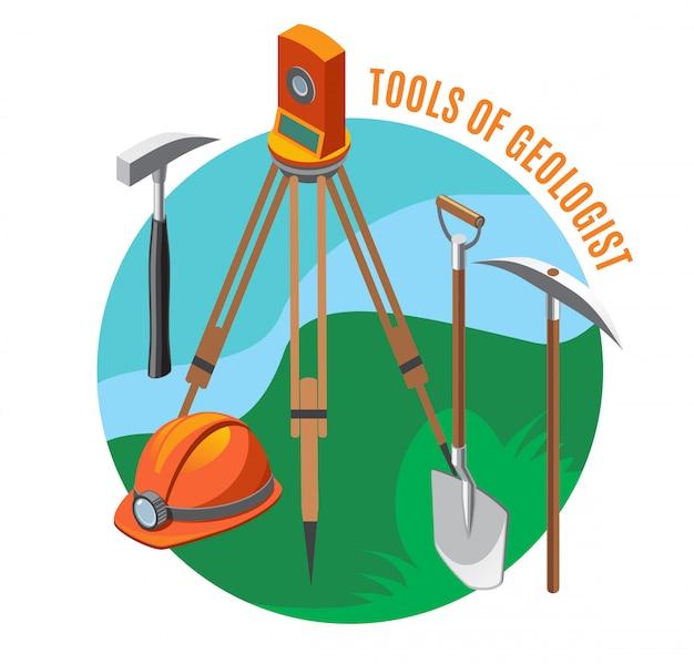 Dispositivo de medición de herramientas geológicas casco pala martillo y selección composición isométrica en azul verde