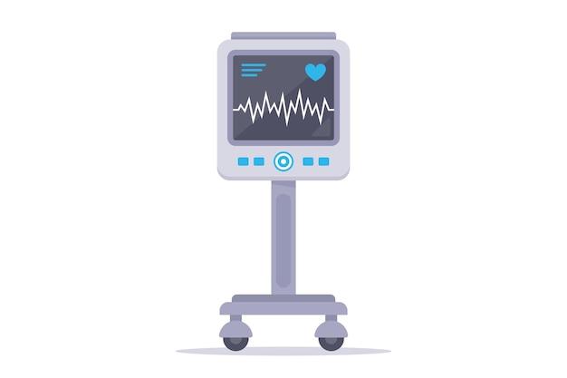 Dispositivo médico para monitorizar el corazón del paciente. ilustración plana aislada sobre fondo blanco.