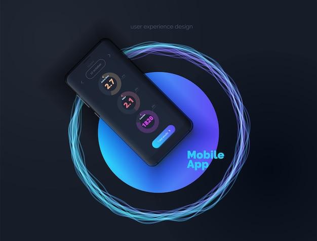 Dispositivo móvil con diseño de interfaz de usuario ilustración de la aplicación móvil