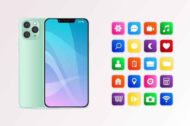 Dispositivo móvil realista con aplicaciones