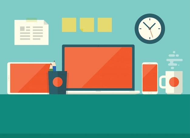 Dispositivo de negocio plano de escritorio de trabajo