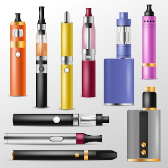 Dispositivo de vapeo de vector de vapor y conjunto de ilustración de e-cig de vaporizador moderno de vapes y cigarrillos