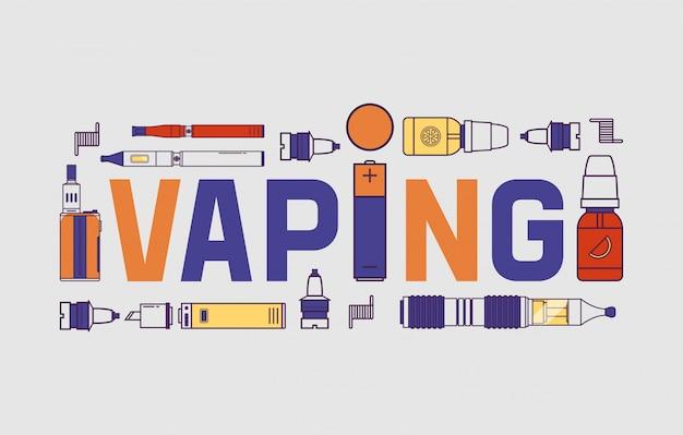 Dispositivo de vaporizador vaporbanner y moderna ilustración de e-cig de vaporizador