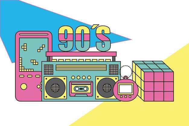 Dispositivos de los 90 y juguetes retro