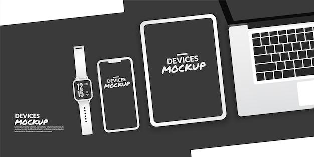 Dispositivos conceptuales con pantalla en blanco para desarrollo de aplicaciones y diseño de ux / ui