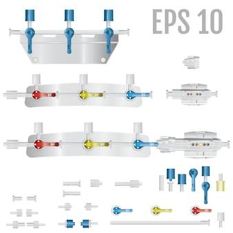 Dispositivos de conversión que forman parte del sistema para infusiones intravenosas.