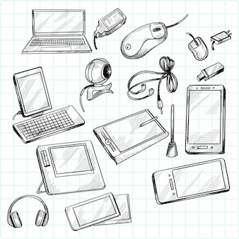 Dispositivos dibujados a mano doodle diseño de escenografía