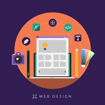Dispositivos de diseño de desarrollo de diseño web de concepto de diseño plano en multipantalla.