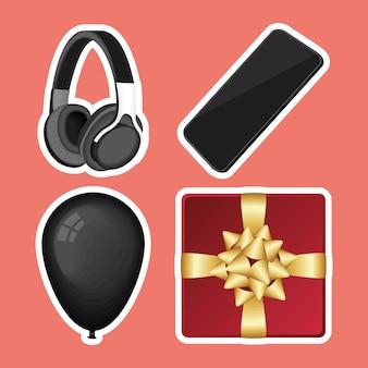 Dispositivos e iconos de celebración