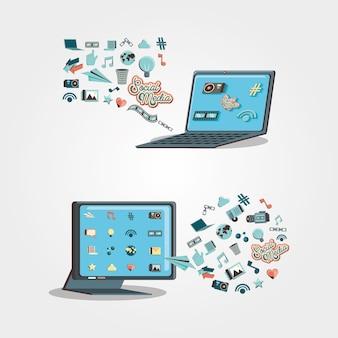 Dispositivos electrónicos con iconos de redes sociales