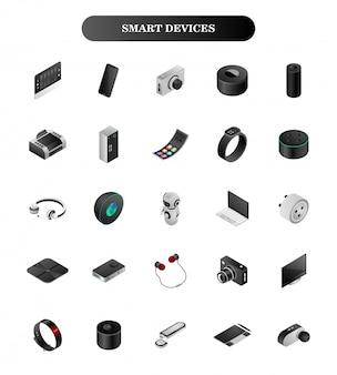 Dispositivos inteligentes 3d en blanco.