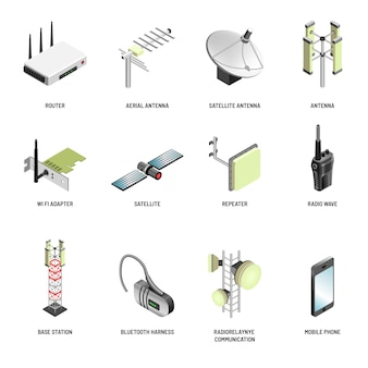 Dispositivos modernos de comunicación y conexión digital aislados iconos.