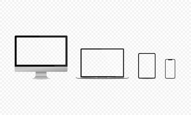 Dispositivos de pantalla en blanco conjunto de computadora portátil tablet pc y teléfono inteligente aislado