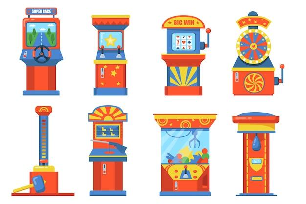 Dispositivos de parque de atracciones con juego de ilustración plana de ranura. máquinas de juego de dibujos animados con canasta, saco de boxeo, ruedas y peluches aislados colección de ilustraciones vectoriales. concepto de juego y diversión.