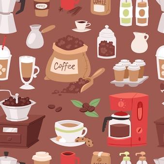 Dispositivos de pote de dibujos animados de bebida de café y taza de café espresso de cafetera de bebidas matutinas, postres, producto de café sin fisuras de fondo