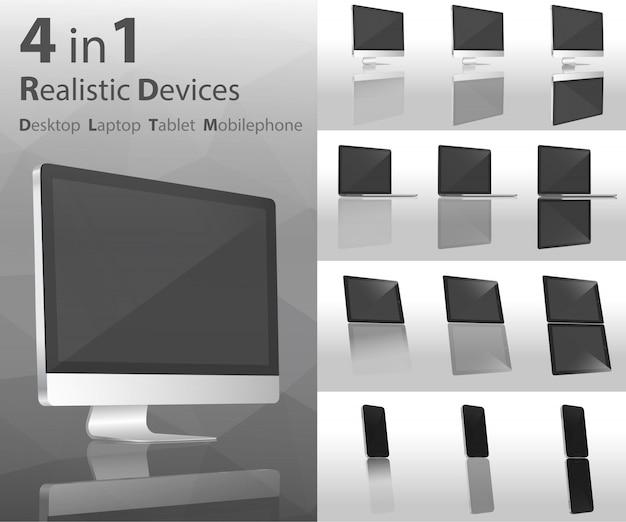 Dispositivos realistas de escritorio.