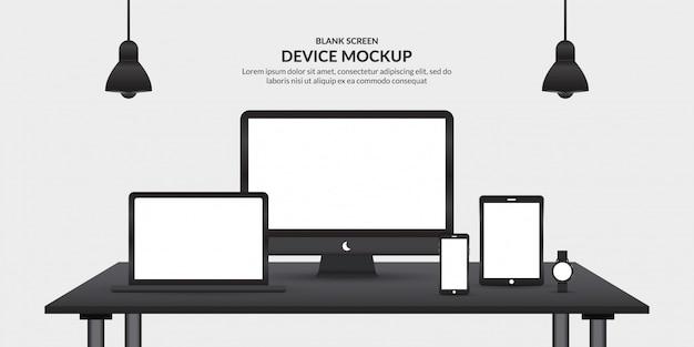 Dispositivos realistas con pantalla en blanco sobre la mesa, plantilla para desarrollo de aplicaciones y ux / ui