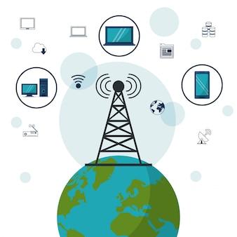 Dispositivos tecnológicos earth earth y conexiones de red inalámbrica