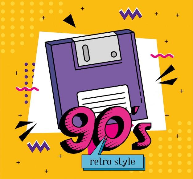 Disquete de estilo retro de los noventa