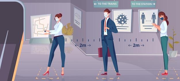 Distancia social en composición plana de metro con vista de la plataforma subterránea y personas esperando el tren