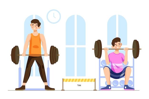 Distancia social en el concepto de gimnasio