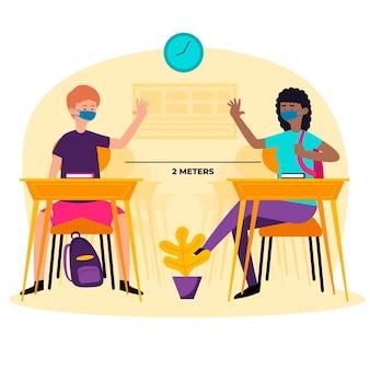 Distancia social en la escuela