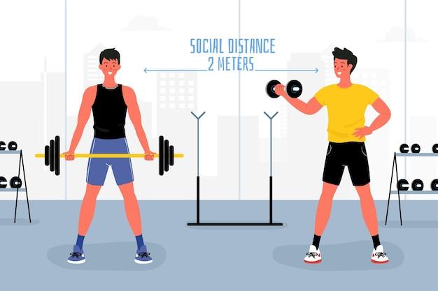 Distancia social en el gimnasio ilustrada