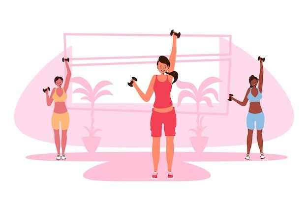 Distancia social en el gimnasio.
