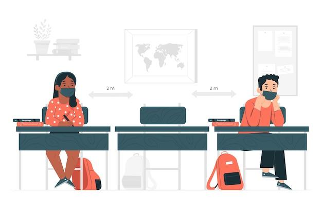 Distancia social en la ilustración del concepto de escuela