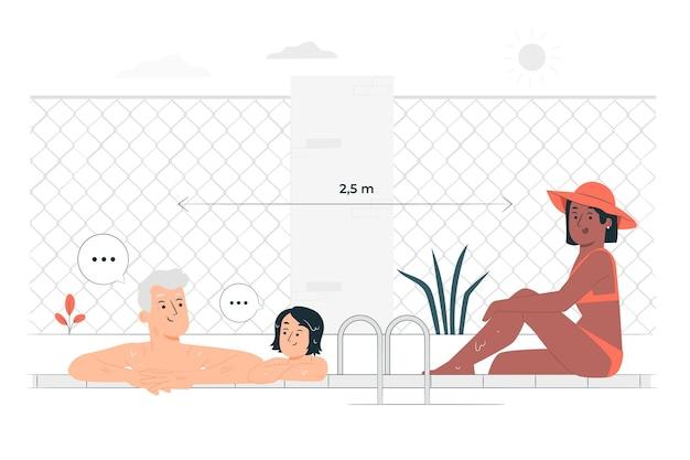 Distancia social en la ilustración del concepto de piscina
