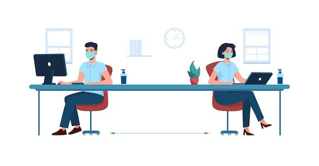 Distancia social en la oficina nuevos estándares de trabajo seguro