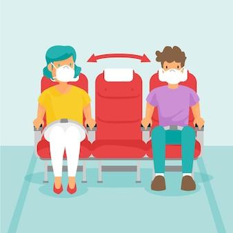 Distancia social entre pasajeros