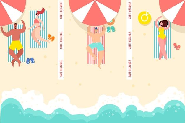 Distancia social en la playa