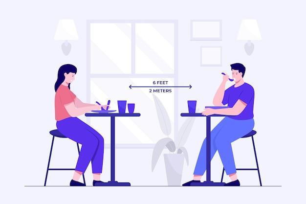 Distancia social en un restaurante ilustrado