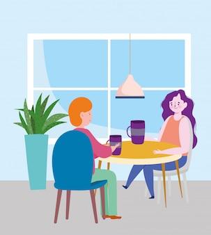 Distancia social restaurante o cafetería, pareja bebiendo café