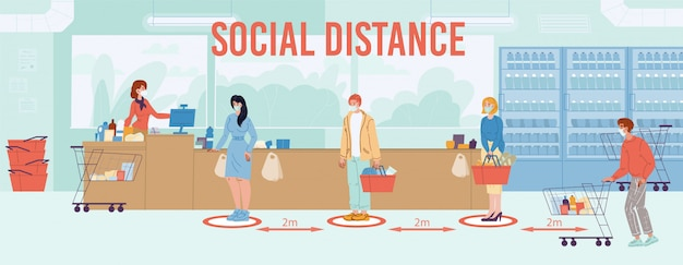 Distancia social segura de hasta dos metros en el cartel de instrucciones de la cola del supermercado.