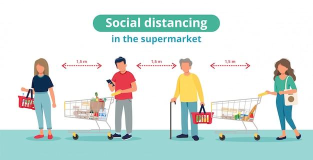 Distancia social en supermercado, personas en línea con carritos de compras.