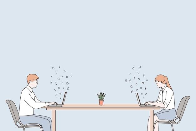 Distancia social, trabajo en cuarentena, concepto de trabajo a distancia.