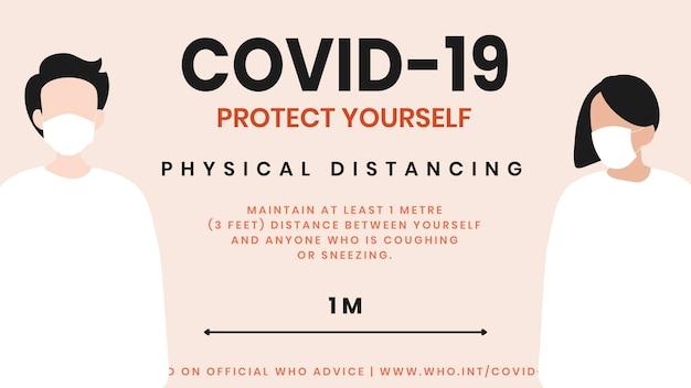 Distanciamiento físico durante el brote de coronavirus plantilla social fuente vector de la oms