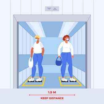 Distanciamiento social en un ascensor