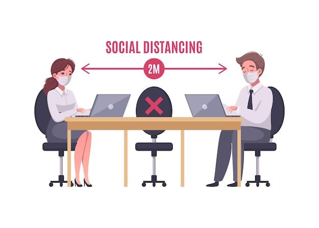 Distanciamiento social en el concepto de dibujos animados de oficina con dos trabajadores en la ilustración de máscaras