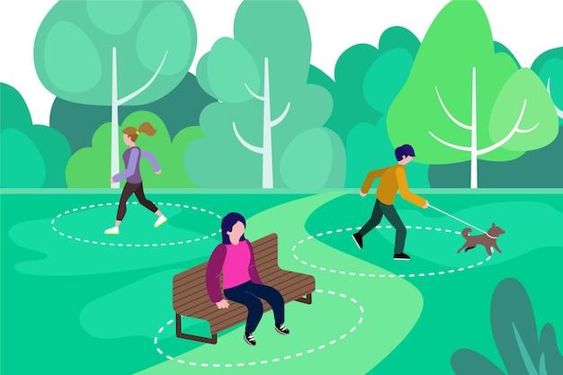 Distanciamiento social en concepto de parque