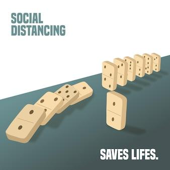 Distanciamiento social con concepto de piezas de dominó