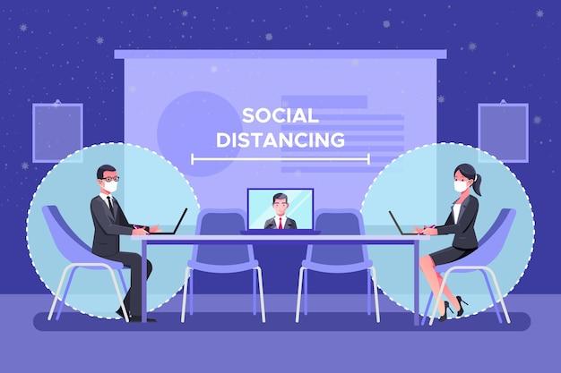Distanciamiento social en un concepto de reunión