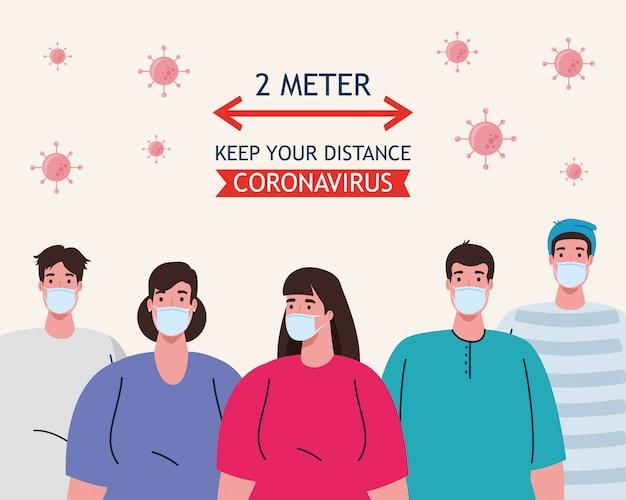 Distanciamiento social, detener el coronavirus a dos metros de distancia, mantener la distancia en la sociedad pública para proteger a las personas de covid-19, personas con máscara médica contra el coronavirus